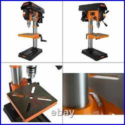 10 in. Drill press with laser wen cast iron guide base bench power chuck speed