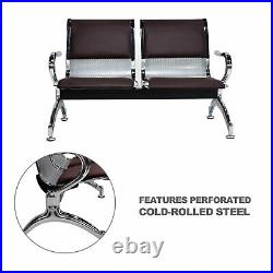 2-Seat Airport Bench Heavy Duty Waiting Room Chair with Brown PVC Leather Cushion