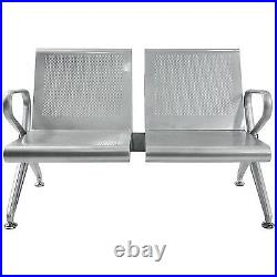 2 Seat Airport Reception Paint Chair Salon Office Guest Bench Sliver Heavy Duty