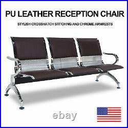 3 Seat Bench Airport Heavy Duty Waiting Room Chair with Brown PU Leather Cushion