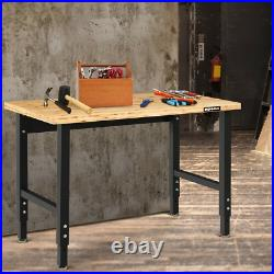 48 Adjustable Height Workbench Bamboo Top Steel Frame Heavy-duty Garage Stable