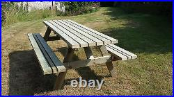 4ft Picnic Bench Heavy Duty Wide Seat Garden Table