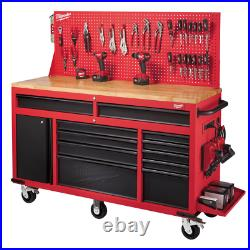 61 In. 11-Drawer/1-Door 22 In. D Mobile Workbench With Sliding Pegboard Back Wal