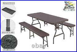 6FT Folding Table Trestle Bench Camping Picnic BBQ Party Garden Heavy Duty Set