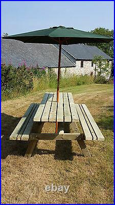 7ft Picnic Bench Heavy Duty Wide Seat Garden Table