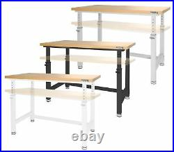 Adjustable Height Workbench Work Table Bench 48 Heavy Duty Wood Top