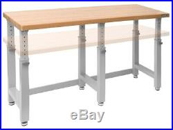 Adjustable Height Workbench Work Table Bench 72 Heavy Duty Wood Top