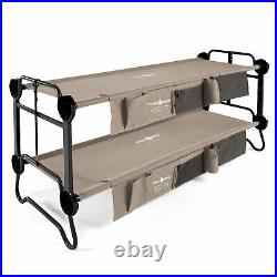 Disc-O-Bed Large Cam-O-Bunk Bench Bunked Double Camping Cot with Organizers, Tan