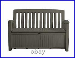 Garden Storage Bench Box Heavy Duty Patio Water Proof Plastic Taupe Brown