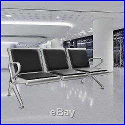 Heavy Duty 3 Seat Salon Waiting Room Bench Airport Reception Chairs Stools Black