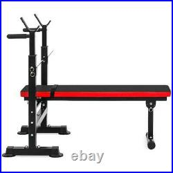 Heavy Duty Adjustable Barbell Bench Press with Weight Rack Set Home Workout Bundle