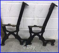Heavy Duty Cast Iron Antique Bench Ends Victorian / Gothic