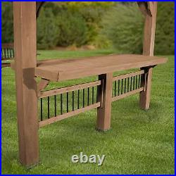 Large Garden Pergola With Bar Table Seat Bench Outdoor Patio Wood Shelter Shade