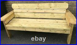 Large Wooden Pub style Bench, Heavy Duty. 4,5 and 6 ft, Tanalised and Extra stain