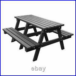 Nbb Recycled 100% Plastic Heavy Duty A-frame 1.8m Picnic Table Bench Black Wood
