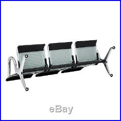 New Heavy Duty Waiting Chair Office Salon Steel Airport Reception 3-Seat Bench