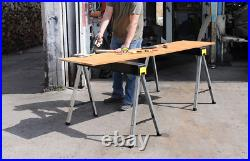 STANLEY Folding Work Bench Saw Horse Twin Pack, Heavy Duty Metal Leg with