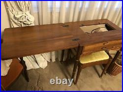 Singer Slant Needle Model 404 Heavy Duty Sewing Machine with WOOD CABINET & bench