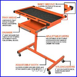 US Heavy Duty Adjustable Work Table Bench with Drawer, 200 lbs Rolling Tool Cart