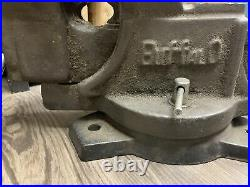 VINTAGE BUFFALO 6 HEAVY DUTY WORK BENCH MACHINIST SWIVEL VISE with ANVIL