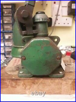 Vintage Heavy Duty Green Enamel 3 Arm Industrial Machinists / Bench Lamp By Edl