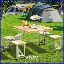Wooden Picnic Table Bench Seat Outdoor Portable Folding Camping Aluminum 4 seats