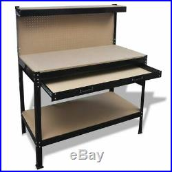 Work Bench Tool Storage Steel Tool Workshop Table with Drawer Pegboard Heavy Duty