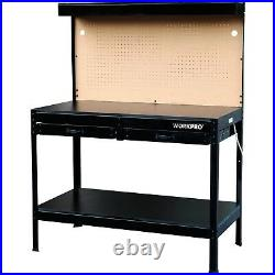 Workbench Garage Workbenches Steel Work Table With Storage Heavy Duty Lighted