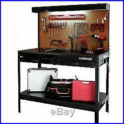 Workbench with Work Light Table Heavy Duty Workshop Home Garage Tool Storage NEW